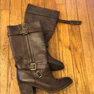 Franco Sarto Brown Buckle Chunky Heel Boot